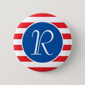 Red & White Strips Monogram 6 Cm Round Badge