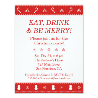 Red White Stylish Modern Pattern Christmas Party 11 Cm X 14 Cm Invitation Card