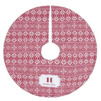 Red & White Sweater Pattern Monogram Brushed Polyester Tree Skirt