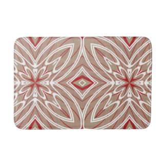 Red White Taupe Vintage Retro Nouveau Deco Pattern Bath Mats