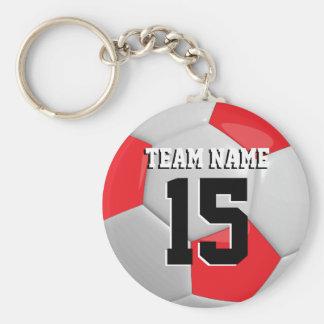 Red & White Team Soccer Ball Basic Round Button Key Ring
