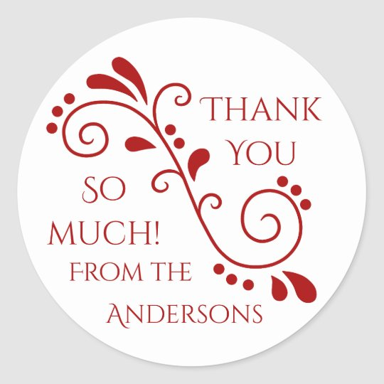 Red white thank you classic round sticker