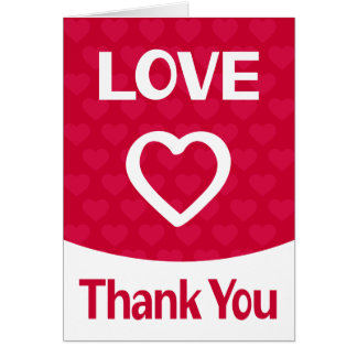 Red & White Thank You Heart Love Burgundy Wedding Card