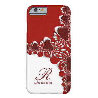 Red White Tribal Lace Fractals Monogram iPhone 6 Barely There iPhone 6 Case