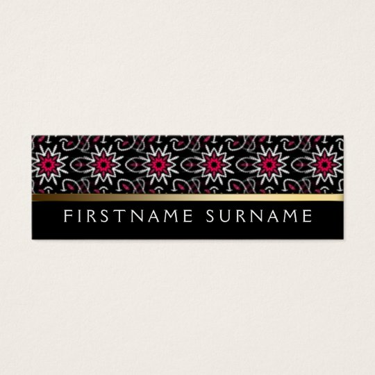 Red White Tribal Pattern | Black Mini Biz Cards