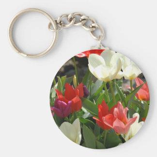 Red & White Tulips Keychain