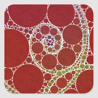 Red White Twirls Abstract Square Sticker