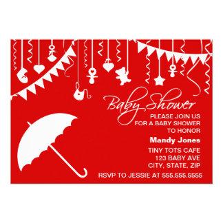Red white umbrella stylish modern baby shower invitation