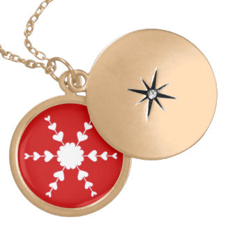 Red White Valentine Heart Snowflake Necklace