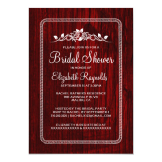 "Red White Vintage Barn Wood Bridal Shower Invites 5"" X 7"" Invitation Card"