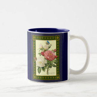 Red White Vintage Botanical Roses Coffee Mug