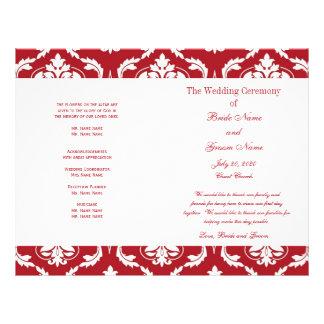 Red White Vintage Damask Wedding Program Flyers