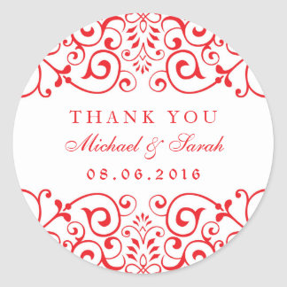 Red White Wedding Victorian Swirl Floral Sticker