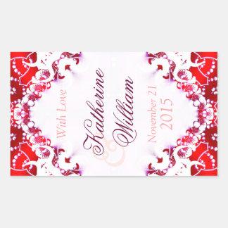 Red+White Wedding Wine 4.5 x 2.7in Stickers