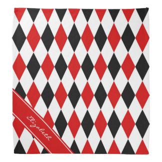 Red Wht Black Harlequin Red Ribbon Name Monogram Bandana