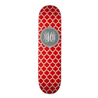 Red Wht Moroccan #5 Charcoal 3 Init Vine Monogram Skate Deck