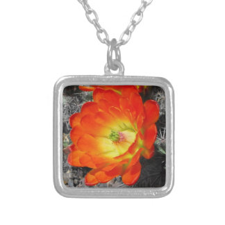 Red Wildflower Square Pendant Necklace