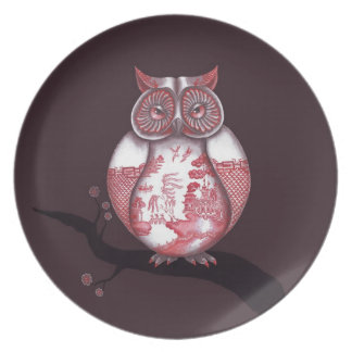 Red Willow Owl Plate