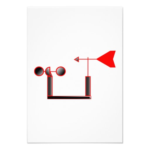 Red Wind Speed and Weather Vane Personalized Announcements