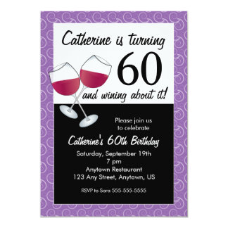 Red Wine, 60th Birthday Party Card