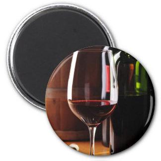 Red Wine 6 Cm Round Magnet