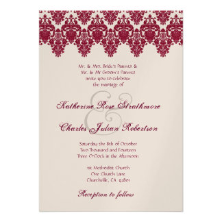 Red Wine and Champagne Damask Lace Wedding Announcements