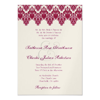 Red Wine and Champagne Damask Lace Wedding 13 Cm X 18 Cm Invitation Card