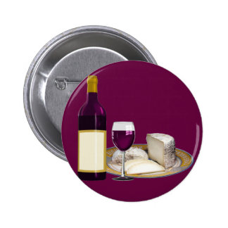 RED WINE  AND  CHEESE, CHEESE LOVERS GIFT 6 CM ROUND BADGE