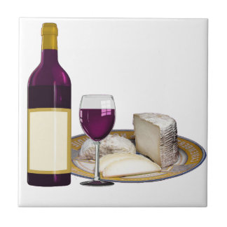 RED WINE  AND  CHEESE, CHEESE LOVERS GIFT SMALL SQUARE TILE