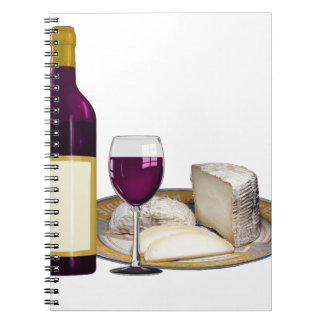 RED WINE  AND  CHEESE, CHEESE LOVERS GIFT SPIRAL NOTEBOOK