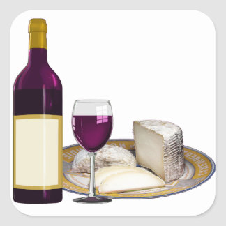 RED WINE  AND  CHEESE, CHEESE LOVERS GIFT SQUARE STICKER