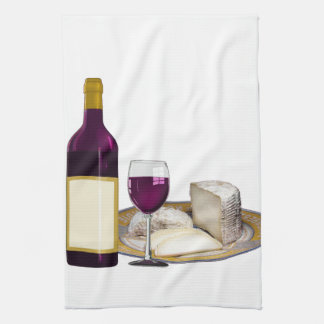 RED WINE  AND  CHEESE, CHEESE LOVERS GIFT TEA TOWEL
