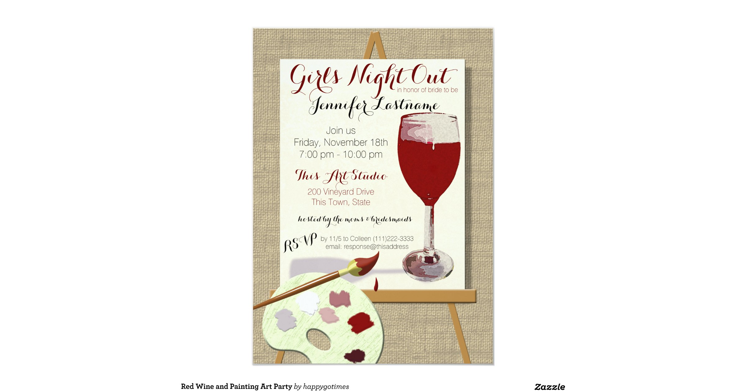 Red wine and painting art party 13 cm x 18 cm invitation for Wine and painting mn