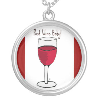 """""""RED WINE BABY"""" RED WINE PRINT ROUND PENDANT NECKLACE"""
