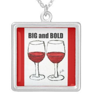 "RED WINE ""BIG & BOLD"" PRINT SQUARE PENDANT NECKLACE"