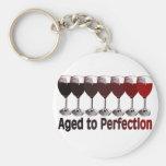 Red Wine Birthday Basic Round Button Key Ring