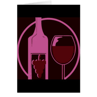 Red Wine Bottle and Glass Greeting Card