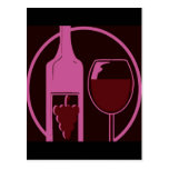 Red Wine Bottle and Glass Postcards