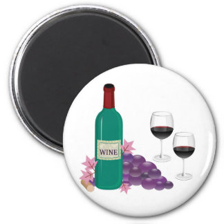 RED WINE BOTTLE, GLASSES AND GRAPES 6 CM ROUND MAGNET