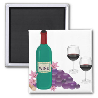 RED WINE BOTTLE GLASSES AND GRAPES REFRIGERATOR MAGNETS