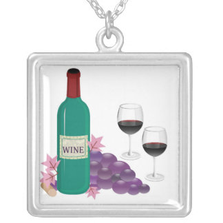 RED WINE BOTTLE, GLASSES AND GRAPES JEWELRY