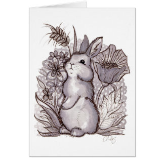 Red Wine Bunny Card