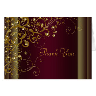 Red Wine Burgundy and Gold Thank You Cards