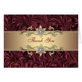 Red Wine Burgundy Gold Thank You Cards