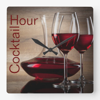 red wine cocktail wall clock