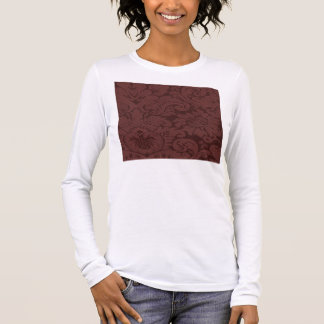 Red Wine Damask Weave Look Long Sleeve T-Shirt