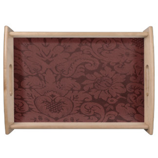 Red Wine Damask Weave Look Serving Tray