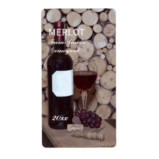 Red Wine glass and bottle Shipping Label