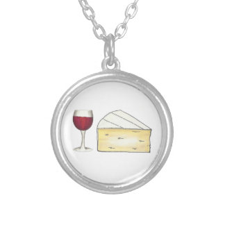 Red Wine Glass and Brie Cheese Necklace