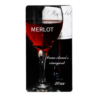 Red Wine glass and Merlot bottle Shipping Label